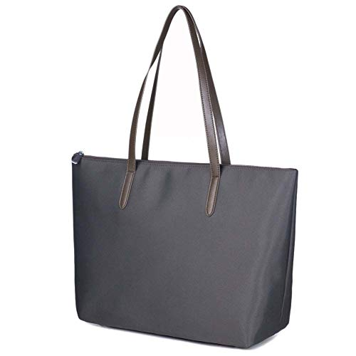 Lecxci Women's Satchel Large Capacity Waterproof Tote Bag Oxford Nylon Shoulder Handbags for Office Lady (L, Gray 1)