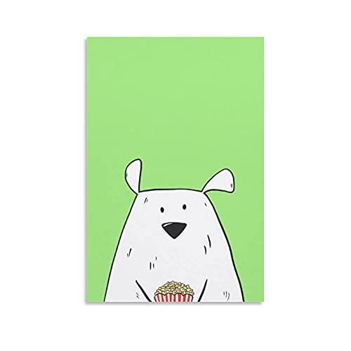 xianfan Póster de oso polar con palomitas de maíz, lienzo decorativo para pared, sala de estar, dormitorio, pintura de 50 x 75 cm