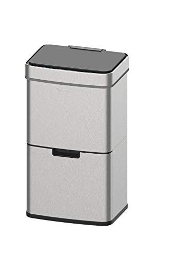 *Homra Mülltrennsysteme mit Sensor – 3 Fach Mülleimer – 72 Liter (2×12 + 1×48 L) Design Treteimer aus Edelstahl*