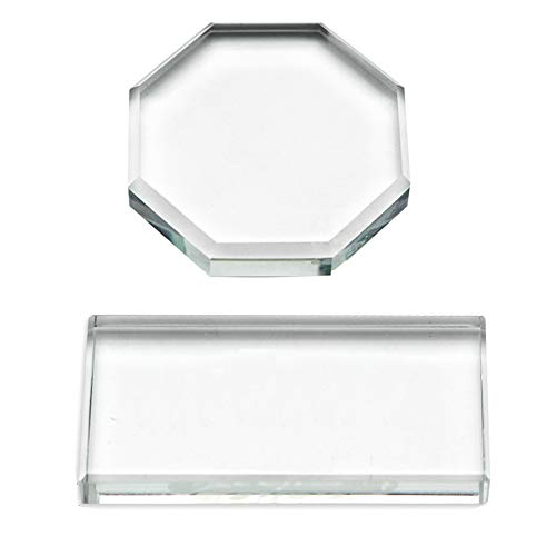 2Pcs Professional Eyelash Extension Adhesive Glue Pallet Crystal Glass Eye Lash Base Pad Tray Stand Holder for Fake Eyelashes Extension Makeup Cosmetic Nail Palette Tool, Octagon and Rectangle