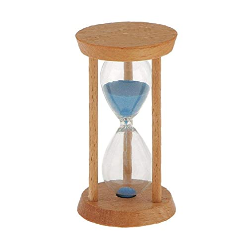 GGOOD Forma 3 Minutos en Ronda de Arena de Cristal de Reloj de Arena de Madera Recta Temporizador de Cocina Utensilios de Escritorio del hogar Productos para el hogar estantería decoración Azul