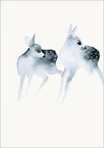 Posterlounge Acrylglasbild 70 x 90 cm: Zwei Rehe von Dearpumpernickel - Wandbild, Acryl Glasbild, Druck auf Acryl Glas Bild