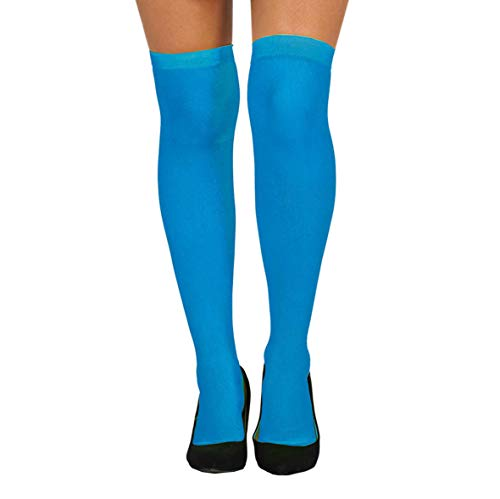 Guirca Strümpfe blau Overknee bunt für Damen Karneval Fasching Party Motto