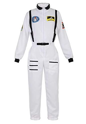 Josamogre Astronauten Kostüm Erwachsene Damen Kostüm Astronaut Weltraum Raumfahrer Cosplay Halloween Weiß L