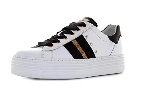 Nero Giardini I013370D Skipper Bianco Sneakers Sportive Donna in Pelle Bianca Zeppa Bassa (Taglia 40)
