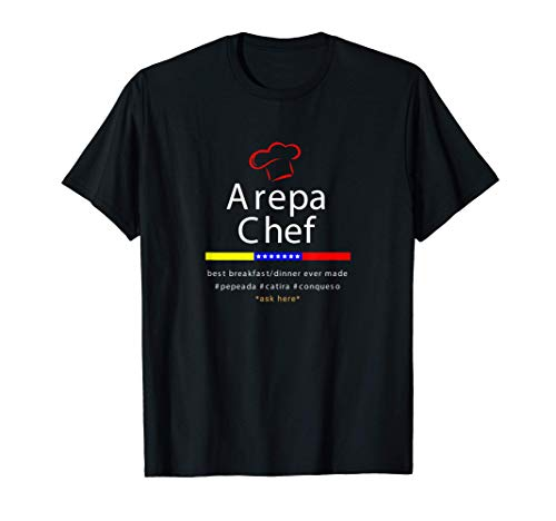 Arepa Chef Red Cap Tricolor Star Dark Venezuela Gift T-Shirt