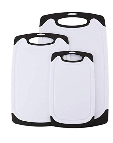 Generisch Schneidebrett, Set 3-teilig, Kunststoff Schneidebretter mit Saftrillen und rutschfeste Griffe, antibakteriell, Spülmaschinen fest, 3 Größen