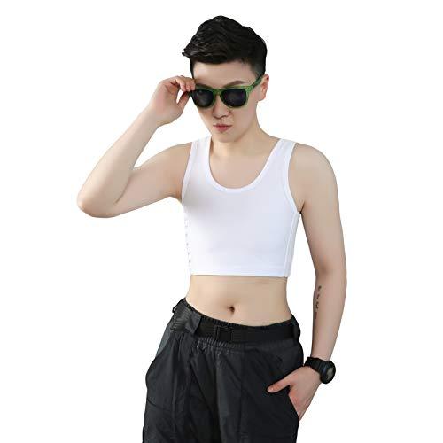 Binder Binder respirável malha elástica Shapewear para Tomboy Trans Lésbicas (branco, 4XL)