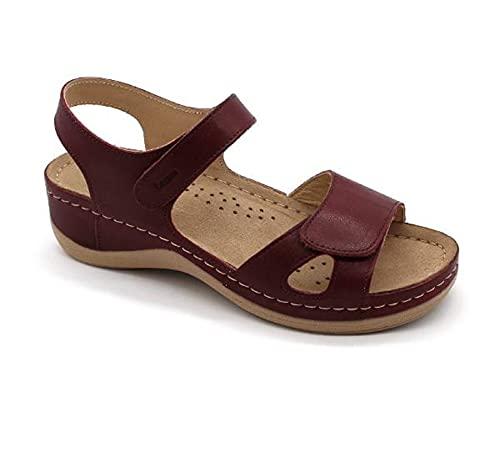 LEON 935 Sandali Zoccoli Sabot Pantofole Scarpe di Pelle, Donna, Rosso Scuro, EU 39