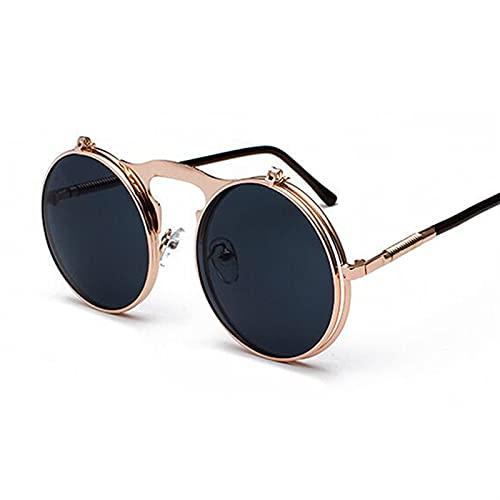 PPCLU Metal Steampunk Gafas de Sol Mujeres Moda Gafas Redondas Diseño Vintage Gafas de Sol Mujer UV400 Gafas Shades (Lenses Color : CooperGray)