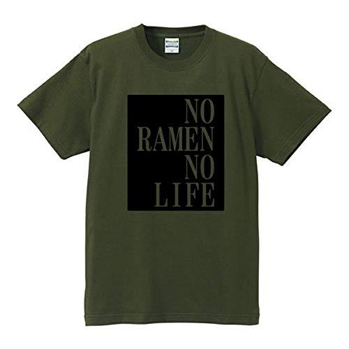 NO RAMEN NO LIFE(ラーメンがなければ生きられない) シティグリーン(ブラック) メッセージTシャツ 英語Tシャツ 4L