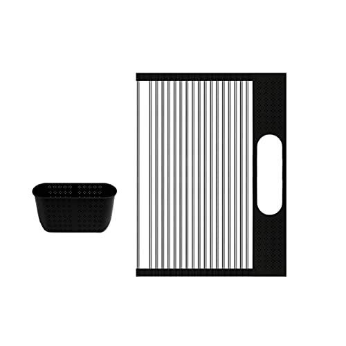 EMFGJ Estante enrollable para secar platos de acero inoxidable sobre el fregadero, escurridor de platos resistente al calor, escurridor multiusos para fregadero, 18 tubos de 44 x 37 cm