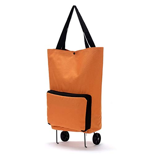 Ashley GAO Large Capacity Thickened Canvas Lightweight Foldable Shopping Trolley Wheel Bag Solid Color Traval Cart Luggage Bag