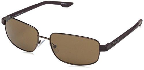 Columbia Gafas de sol rectangulares para hombre Cliff Haven, Nogal, 59 mm