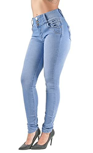Plus Size Colombian Design Butt Lift Levanta Cola Skinny Denim Jeans in Light Blue Size 24