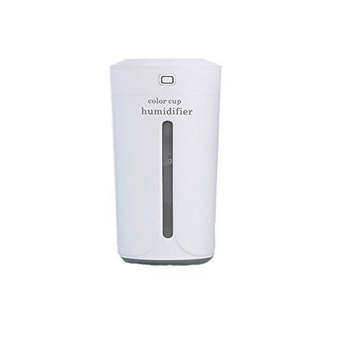 Luchtbevochtiger, luchtreiniger, energiebesparend, ultra stil, USB-aangedreven bureaubevochtiger met LED kleine 230 ml droge bescherming kantoor slaapkamer autokamer enz. Voor elke ruimte wit