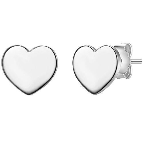 Glanzstücke München Damen-Silberohrstecker Herz Sterling Silber - Silber-Ohrringe mit Herz-Symbol Ohrschmuck mit Herz-Motiv Herzohrstecker