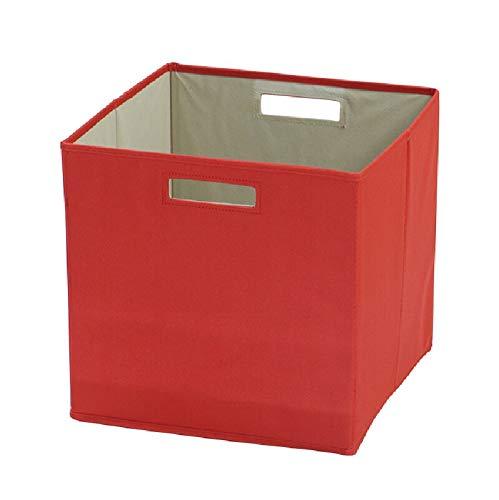 Contenedores de almacenamiento plegables, cubos de almacenamiento para estanterías, cajas de estanterías, cajones de tela gruesa, 1 unidad, rojo (rojo)