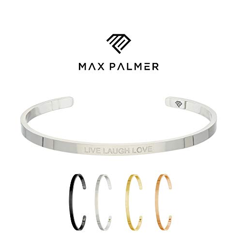 Max Palmer | Armband/Armreif mit Spruch - Gravur LIVE Laugh Love [01.] - Silber