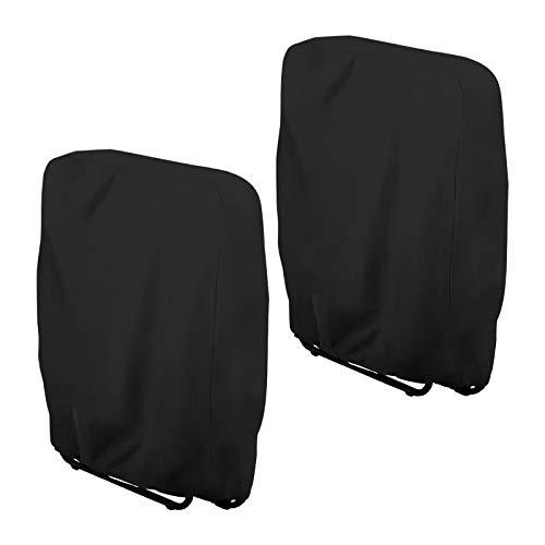 Klappstühle Abdeckung, 2 Stück Gartenstühle Schutzhülle Winddicht Anti-UV für Liegestuhl Faltstuhl Konferenzstuhl Deckchair Klappbar Gartenmöbel Abdeckplane, mit Aufbewahrungstasche (2er Set, Schwarz)