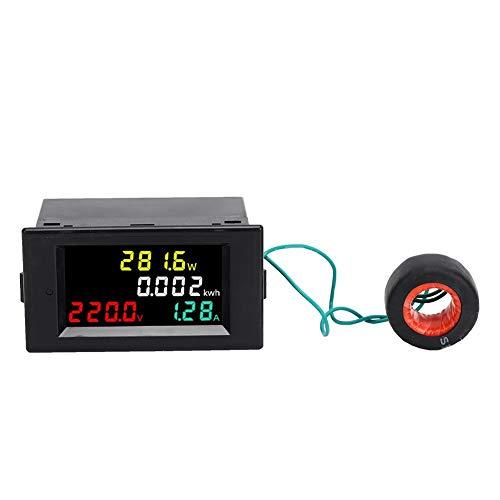 Voltimetro Amperimetro Digital, Medidor de Energía Corriente Voltímetro Digital, Monitor Energía LED CA Alta Precisión Multifuncional, Mini Amperímetro Voltímetro 79 x 43 x 48 mm(AC 220V)