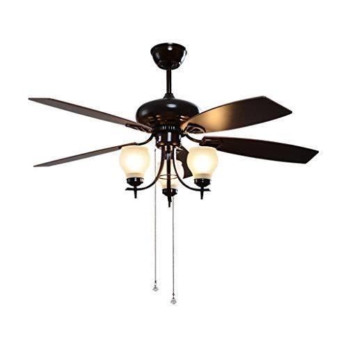 """Deckenventilator mit Beleuchtung Amerikanische Einfache Deckenventilator Licht mit Zugschalter 3 Glaswasc Drei-Geschwindigkeit Einstellbare Windenergiespar Fan Kronleuchter, 48\"""" Deckenventilator für W"""