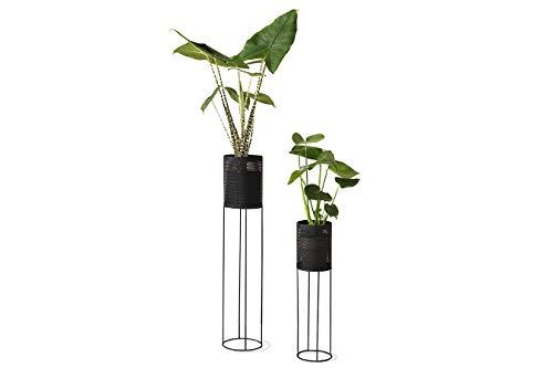 LIFA LIVING Pflanzenständer Set aus schwarzem Metall, 2 Moderne Deko Blumenständer für den Innenbereich, Wohnzimmer, Schlafzimmer, Flur, bis zu 1,5 kg