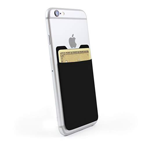 HULI Hochwertiger Kartenhalter für das Smartphone (Schwarz) - Haftendes Kartenfach mit RFID Blocker und Einer Kapazität für 6 Karten