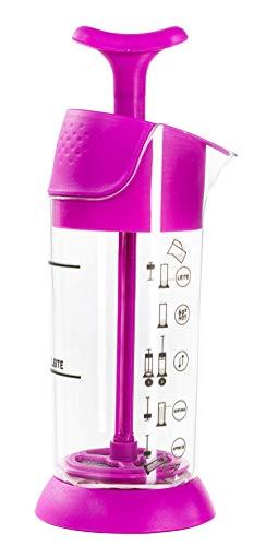 Pressca Milchaufschäumer, manuell, klein und tragbar, mikrowellengeeignet, 200 ml (Pink)