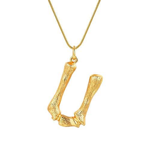 NSXLSCL Vrouwen Hanger Ketting, Grote Letters U Goud Hanger Kettingen Voor Vrouwen Met Snake Chain Engels Letter Sieraden Beste