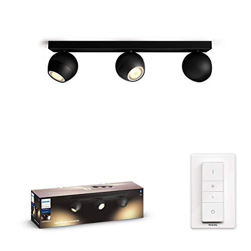 Philips Hue White Amb. LED 3-er Spotleuchte Buckram inkl. Dimmschalter, schwarz, dimmbar, alle Weißschattierungen, steuerbar via App, kompatibel mit Amazon Alexa (Echo, Echo Dot)