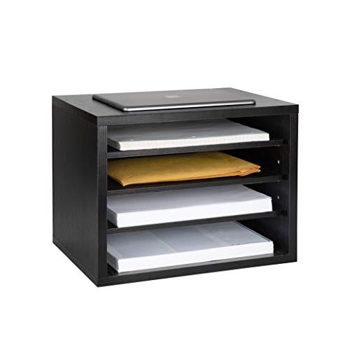 Adir Wood Paper File Organizer - Letter Mail Sorter Holder Construction Paper Storage - Stackable 3 Shelves Desk Literature Drawer for Home, Office, Classroom and More (Black)