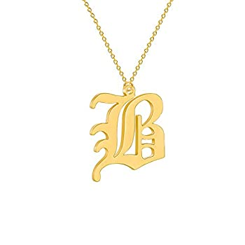 Old English B Initial Necklace Gold Letter Necklace Personalized Name Necklace for Her Mother Daughter Birthday Gift  Gold B