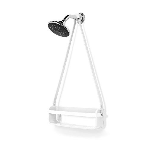 UMBRA Flex Single Shower Caddy. Caddie de douche Flex. Organiseur de douche à étagère, à suspendre, coloris blanc.
