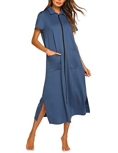 Ekouaer Women Zipper Robe Short Sleeve Loungewear Full Length Nightgown Duster Housecoat with Pockets Navy