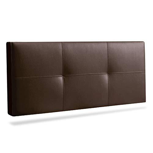 Adec - Telma, Cabecero Cama Matrimonio, Cabezal Dormitorio Acabado en símil Piel Color Chocolate, Medidas: 160 cm (Ancho) x 55 cm (Alto) x 10 cm (Fondo)
