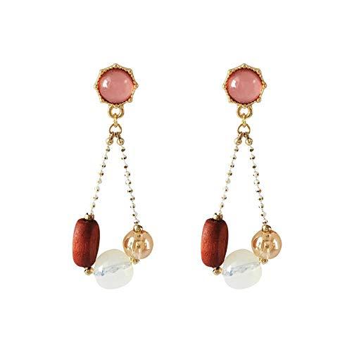 Roze cat eye oorbellen houten vintage poort kralen oorbellen vrouwelijke oorbellen oorbellen vrouwelijke schattige Japanse