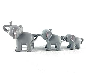 Aint It Nice Elephant Family African Safari Wildlife Cute Trail of Elephants Decorative Statue Figurine Sculpture Decor Gift, Set of 3 (10 inches, Intertwined Front to Back)