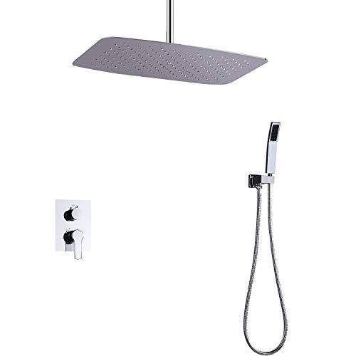 Handheld Juego de ducha de ducha con salida de chorro de aire de doble asa con grifo for piso Para el baño (Color : Silver)