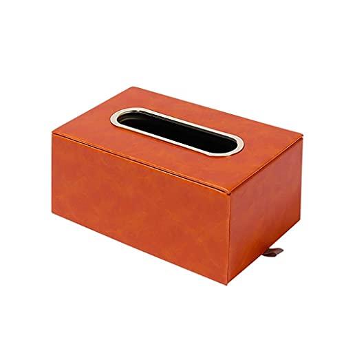 WLP-WF Caja de Pañuelos Rectangular, Cubierta de Caja de Pañuelos de Cuero de Alta Calidad, para el Hogar, Sala de Estar, Mesa de Comedor, Soporte para Caja de Pañuelos, Naranja, Verde Oscuro (Color: