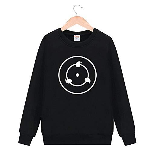TSHIMEN Herren Sweatshirt Naruto Japanische Anime Sasuke Kakashi Ferret Mantel Männer und Frauen Mode Kleidung schwarz Rundhalspullover (ohne Kleiderbügel) -Schreiben Sie das runde Auge DM