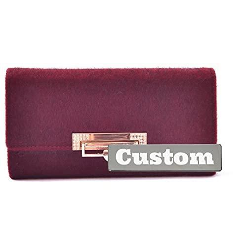 Personalizado Nombre Personalizado Zipper Wallet Long Cuero Larga Chequeo Delgado para Mujeres (Color : Red, Size : One Size)