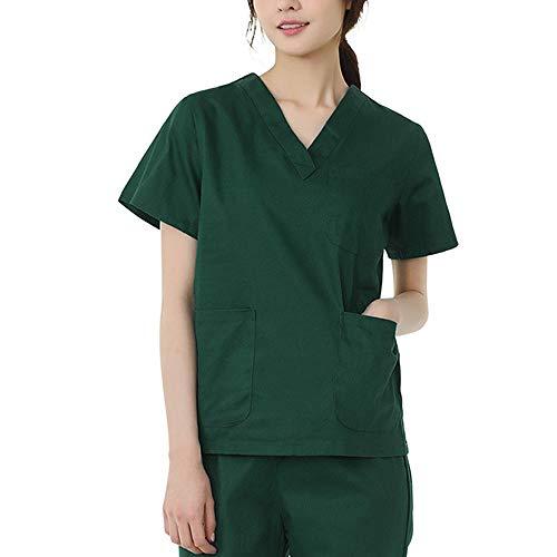 Damen Kurzarm Uniformen Krankenschwester-Krankenpflege-Kleidung Medizinische Arbeitskleidung Laborkittel Laborkittel Zahnärztliche Arbeitskleidung Top & Hose mit V-Ausschnitt Mit 3 Taschen,Grün,XXXL