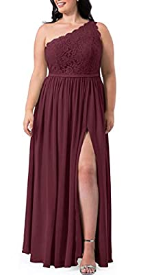 Women's Long One Shoulder Lace Bridesmaid Dress with Slit Wedding Evening Prom Party Formal Gowns Burgundy 16W