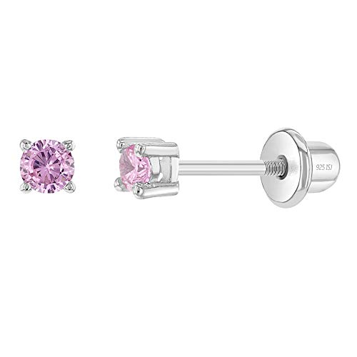 925 Sterling Silver Pink 2mm Cubic Zirconia Screw Back Stud Earrings Fits Babies, Toddlers to Kids Quality and Premium Gift with safety Locking for Infant Baby Girls on Birthdays, Baptisms & Holidays