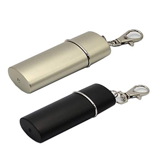 HAMILO 携帯灰皿 スライド式 携帯用灰皿キーホルダー 小型灰皿 カラビナ付 防水 2色セット (ゴールド×ブラック)