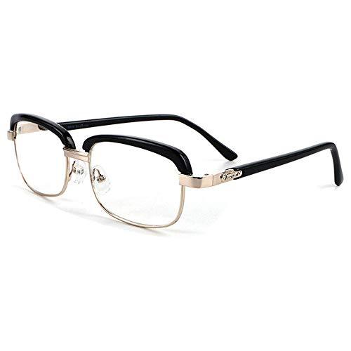 ZZAI Gafas de Lectura Alto Definición Anti-Fatiga Marco Negro Negro Retro Presbicia Glasses-6 Diopters Black- + 1.0 (Color : Negro, Size : +1.5)