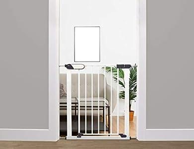 Callowesse © Kemble Barrera de seguridad estrecha para niños / perros - 65-72 cm blanco - Adecuado como puerta para bebés y para mascotas, con indicadores de bloqueo de seguridad