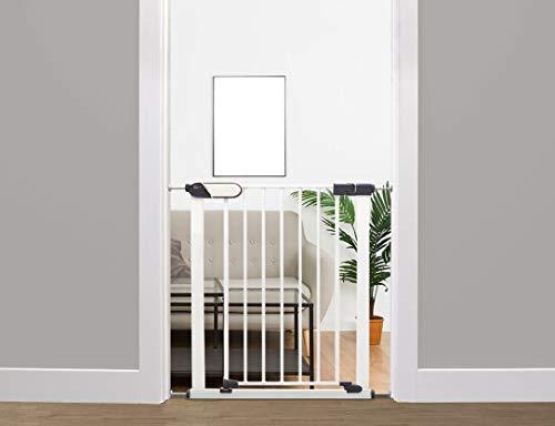 Callowesse® Kemble schmales Tür/Treppenschutzgitter - mit Druckbefestigung ohne zu Bohren -Weiß, 65-72cm, für Babys/Kinder/Haustiere - Einhand-Bedienung mit Sicherheitsindikatoren