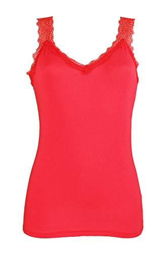 Miss Rouge - Top, camiseta de tirantes de encaje rojo Talla única